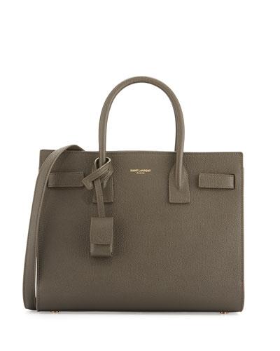 Sac de Jour Baby Grain Leather Satchel Bag, Dark Gray