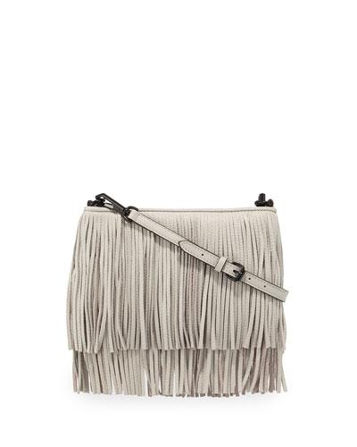 Finn Fringe Crossbody Bag, Light Gray