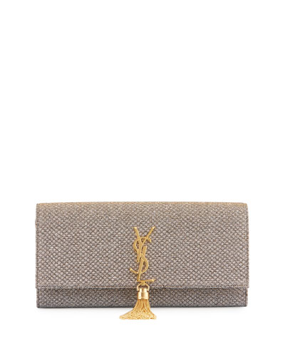 Monogram Kate Fabric Tassel Clutch Bag, Gold/Silver