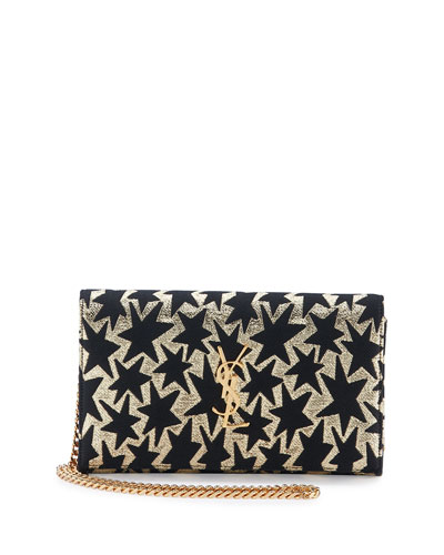 Monogram Stars Flap Wallet-on-Chain, Gold/Black