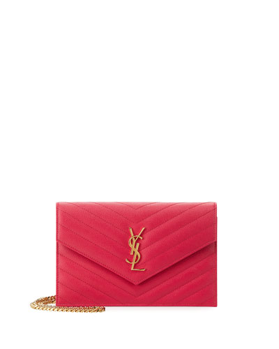 Monogram Leather Small Wallet-On-Chain Bag, Fuchsia