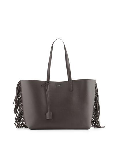 Large Calfskin Fringe Shopping Tote Bag, Dark Gray