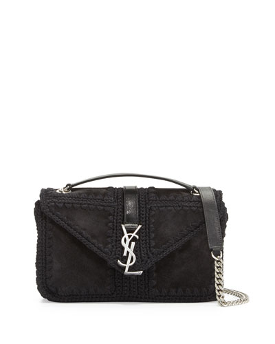 Monogram Medium Macrame Suede Slouchy Chain Shoulder Bag, Black