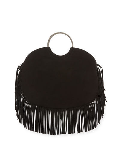 Bracelet Sac Suede Fringe Serpent Hobo Bag, Black
