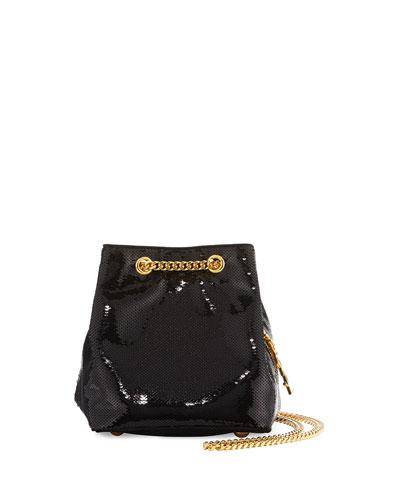 Emmanuelle Sequined Baby Bucket Bag, Black