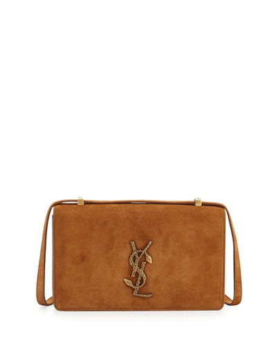 Small Dylan Monogram Suede Serpent Shoulder Bag, Dark Brown