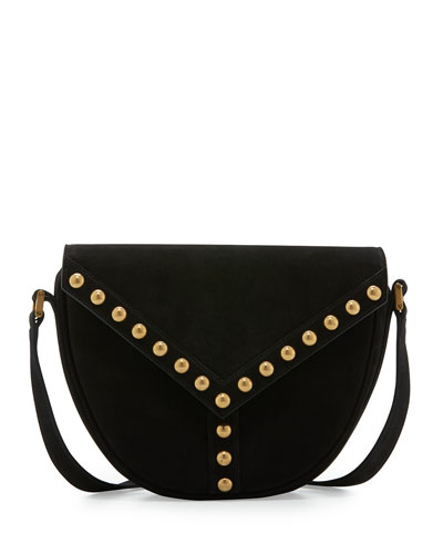 Y Studs Suede Crossbody Bag, Black