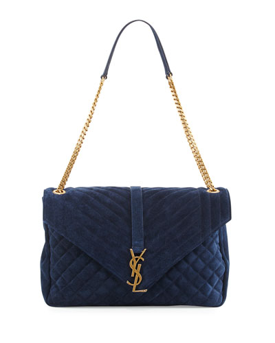 Monogram Large Mixed-Matelassé Suede Envelope Satchel Bag, Navy