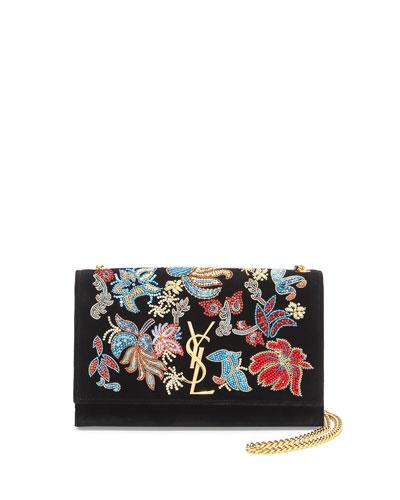 Monogram Sequin Flower Rock Flap Wallet-on-Chain, Black/Multi