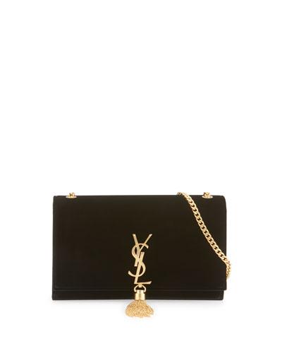 Kate Monogram Medium Velvet Tassel Shoulder Bag, Black