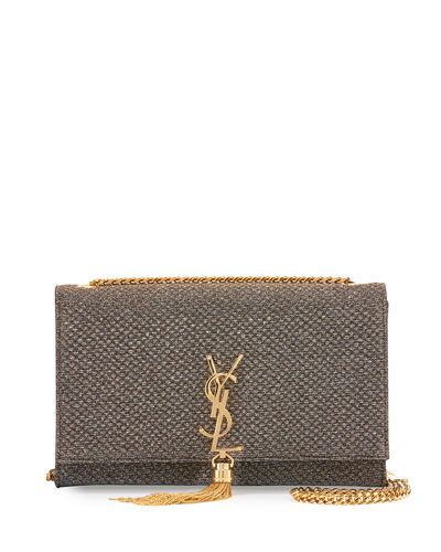 Kate Monogram Medium Tassel Shoulder Bag, Gold/Silver