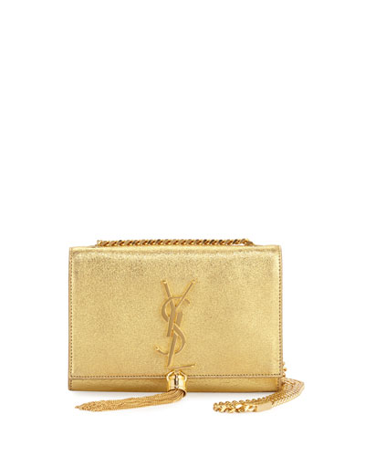 Monogram Small Kate Metallic Tassel Crossbody Bag, Gold