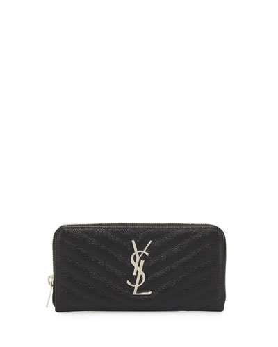 Monogram Matelassé Zip-Around Wallet, Black