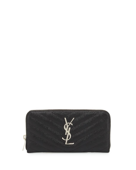 Saint Laurent Monogramme Grain de Poudre Zip-Around Wallet, Black