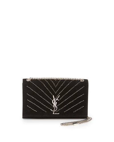 Monogram Medium Crystal Suede Shoulder Bag, Black