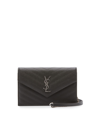 Monogram Small Matelassé Envelope Chain Wallet, Dark Gray