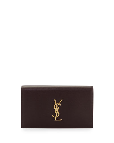 Monogram Kate Leather Clutch Bag, Bordeaux
