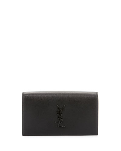 Monogram Leather Clutch Bag, Black