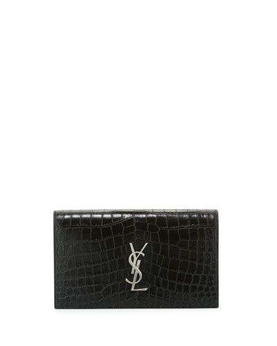 Kate Monogram Crocodile-Embossed Clutch Bag, Black