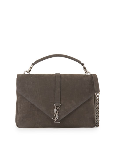 Monogram College Large Crocodile-Embossed Shoulder Bag, Dark Gray