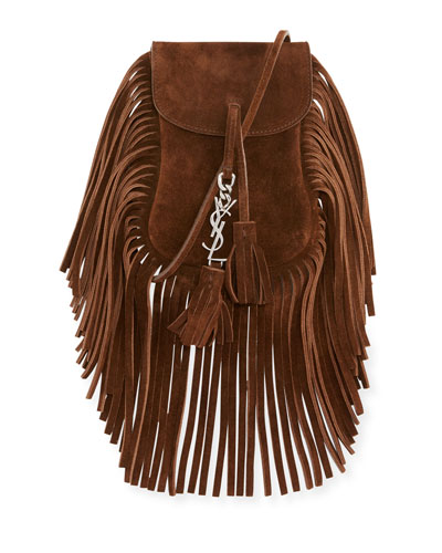 Anita Toy Flat Suede Fringe Crossbody Bag, Brown