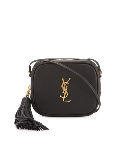 Monogram YSL Blogger Crossbody Bag, Black