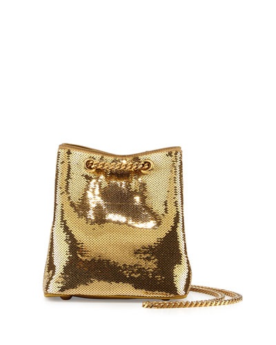 Emmanuelle Sequined Baby Bucket Bag, Gold