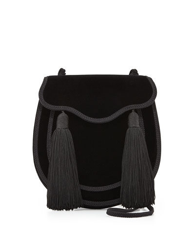 Opium 2 Tassel Velour Crossbody Bag, Black
