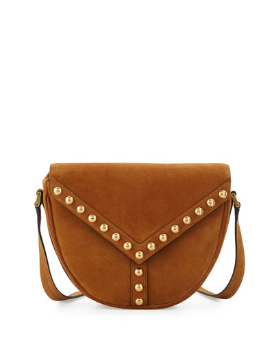 Y Studs Suede Crossbody Bag, Dark Brown