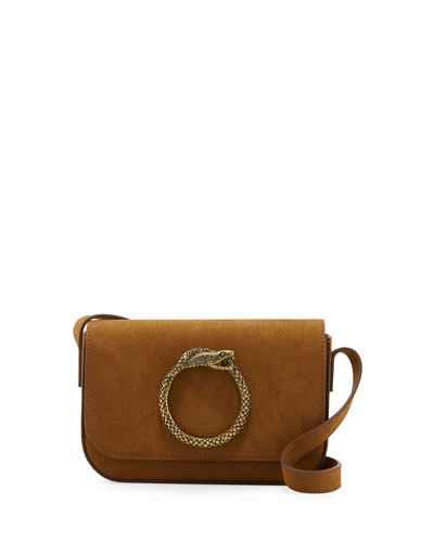 Eddie Besace Suede Serpent Shoulder Bag, Brown