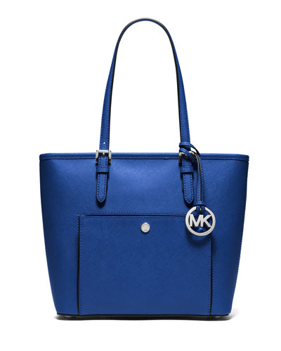 Jet Set Medium Snap-Pocket Tote Bag, Electric Blue