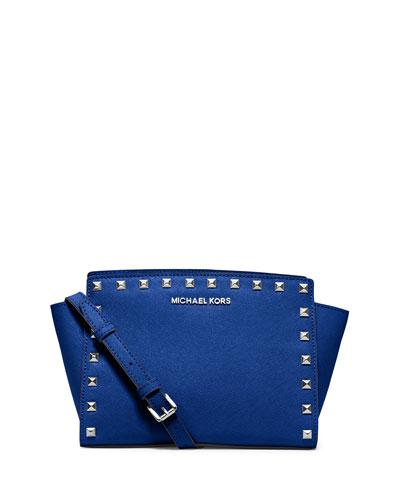 Selma Stud Medium Zip Messenger Bag, Electric Blue