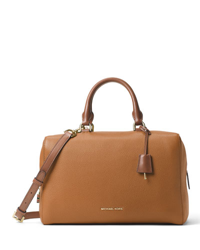Kirby Large Leather Satchel Bag, Acorn