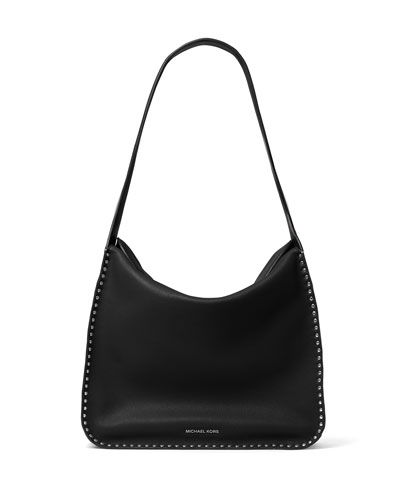 Astor Large Studded Leather Hobo Bag, Black