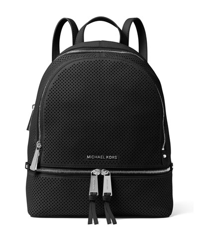 Rhea Medium Perforated Zip Backpack, Black