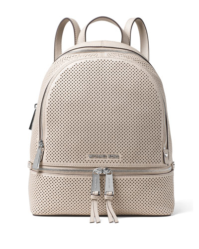 Rhea Medium Perforated Zip Backpack, Cement
