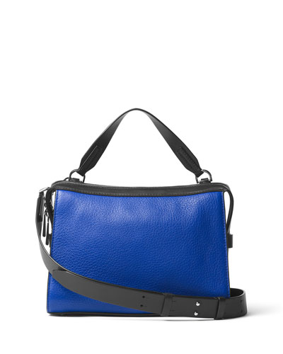 Ingrid Medium Leather Shoulder Bag, Electric Blue/Black