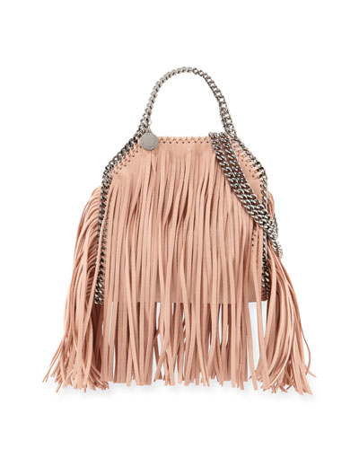 Falabella Mini Fringe Tote Bag, Powder