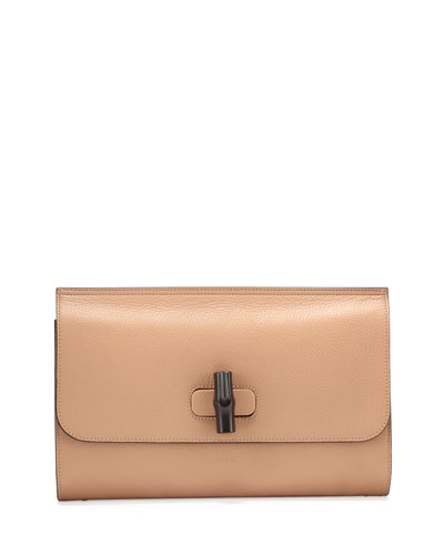 Bamboo Daily Leather Clutch Bag, Camel