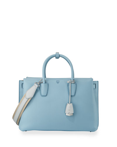 Milla Large Leather Tote Bag, Sky Blue