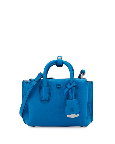 Milla X-Mini Leather Tote Bag, Tile Blue