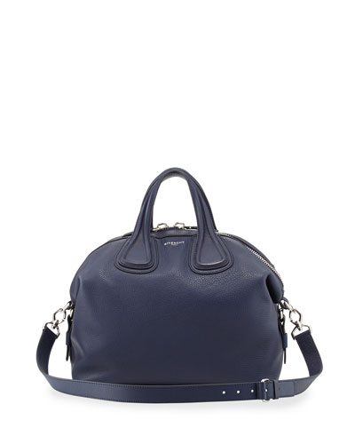 Nightingale Medium Waxy Leather Satchel Bag, Navy