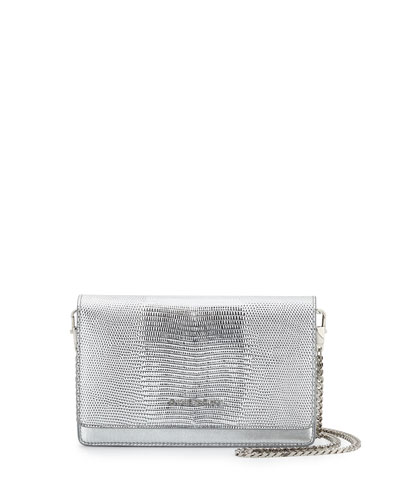 Pandora Lizard-Embossed Wallet-On-Chain Bag, Silver