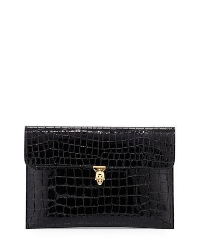 Skull Crocodile-Embossed Clutch Bag, Black