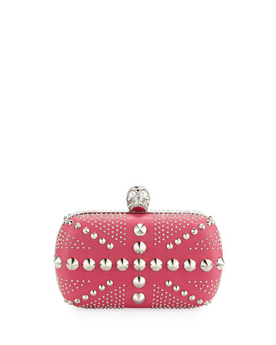 Britannia Classic Skull Clutch Bag, Rose