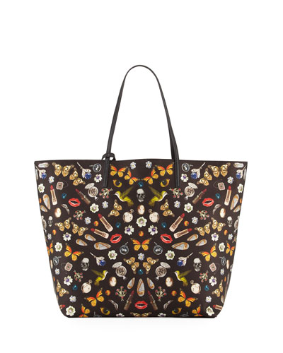 Skull Multi-Print Open Leather Shopper Tote Bag, Black/Multi