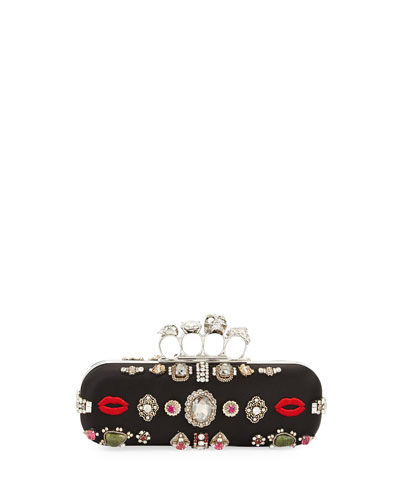 Antique Ring Knuckle Box Clutch Bag, Black/Multi