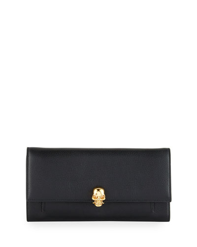 Skull Leather Wallet-on-Chain, Black