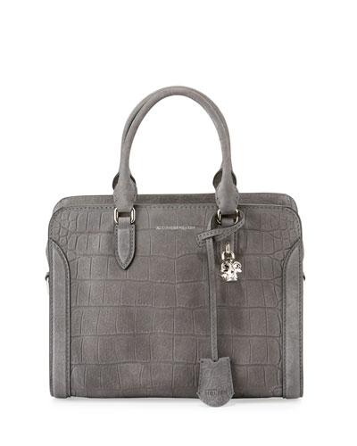Padlock Small Crocodile-Embossed Satchel Bag, Gray