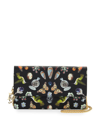 Butterfly Chain Crossbody Bag, Black/Multi